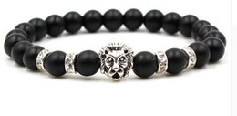 Black titanium Bracelets online shopping - Fashion simple black scrub stone ancient silver Panther lion head men and women stretch bracelets SL069
