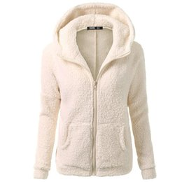 winter warm hoodie zip up NZ - Women Hooded Sweater Coat Fleece Winter Warm Wool Zipper Thicker Coat Cotton zip-up Outwear oversized hoodie women Casual