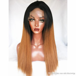 $enCountryForm.capitalKeyWord Australia - High Quality 1b 30# Ombre Brown Kinky Straight Wigs Synthetic Lace Front Wigs Heat Resistant Fiber Wigs For Black Women 180% Density