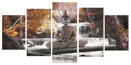Multi Piece Paintings Australia - 5 Pieces Canvas Poster And Prints Wall Art Canvas Painting waterfall Buddha Wall Pictures Living Room color Decoration painting 90-3