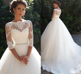 $enCountryForm.capitalKeyWord NZ - Vintage Lace A-Line wedding dresses sheer High Neck with half Long Sleeves Pearls sash Princess custom made Cheap Bridal Dresses Plus Size