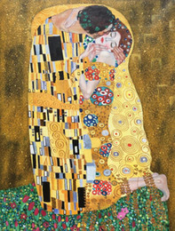 $enCountryForm.capitalKeyWord Australia - Hand Painted oil painting the kiss famous artwork of gustav klimt Canvas art silver and gold leaf Portrait painting of woman Home decor