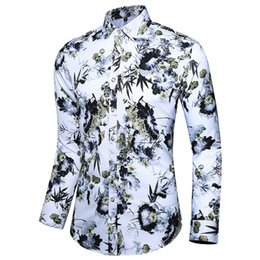 $enCountryForm.capitalKeyWord Australia - Autumn Men Shirts Casual Slim Fit Streetwear Blouse Printed Colorful Lapel Yellow Button Up Dress Shirt Long Sleeve Tops 5XL