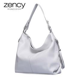 White Shoulder Hobo Bags NZ - 2019 New Fashion Soft Real Genuine Leather Tassel Women Handbag Elegant Ladies Hobo Shoulder Bag Messenger Purse Satchel White J190614