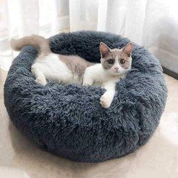Großhandel Hund Runde Katze Winter Warmer Schlafsack Langes Plüsch Weiches Haustierbett Beruhigendes Bett