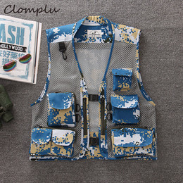 $enCountryForm.capitalKeyWord Australia - Clomplu Summer Vest Unloading camouflage Outdoor Tops for Men Hollow Out Pockets Vests Male Hiking Fishing Cargo Coats