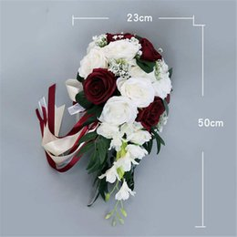 $enCountryForm.capitalKeyWord Australia - Artificial bridal flowers bride bouquet wedding Flower European fresh white imitation rose bouquet For wedding Festiva party decor