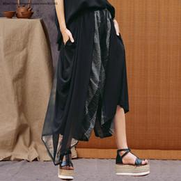Cotton Linen Trousers Women Australia - Retro Asymmetric Mesh Spliced Wide Leg Pants Women Summer Loose Black Trousers Cotton Linen Slacks big size Plus Size Clothes