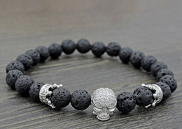 $enCountryForm.capitalKeyWord Australia - 8mm vnb55 silver gold Crown skull adjusted black volcanic lava micro pave cz zircon cubic zirconia Bracelet essential oils