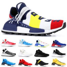 Vente en gros Pas cher NMD Race humaine Chaussures de course Hommes Femmes Pharrell Williams HU Runner Jaune Noir Blanc Rouge Vert Gris Bleu Sport Sneaker Taille 36-47