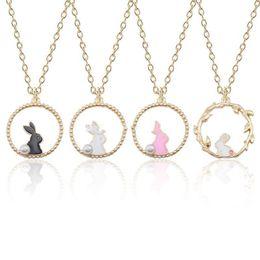 $enCountryForm.capitalKeyWord Australia - Pendant Necklace Lovely Enamel Bunny Rabbit Pendant Necklace Women Cartoon Gold Chain Animal Jewelry Factory Wholesale