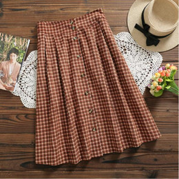 Wholesale Japan Style Mori Girl Corduroy Skirts New Fashion Spring Autumn Plaid Vintage Saia Women High Waist A Line Skirts Button N17