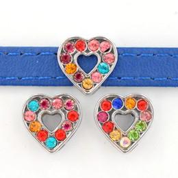 $enCountryForm.capitalKeyWord Australia - 8mm Hole Colorful Rhinestone Heart Slide Charms Slide Beads DIY 8mm Hole Bracelets Wristbands,Belt Straps Pet Name Collar