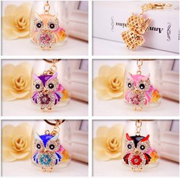 $enCountryForm.capitalKeyWord Australia - Bling Bling Crystal Rhinestone Cute owl Metal Keychain Keyring Car Keychains Purse Handbag Pendant metal animal pendant keychain wholesale