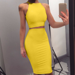 Wholesale Crop Top and Skirt Two Pieces Dress Set Yellow Club Summer Outfit Sexy Clothes for Women Matching Sets