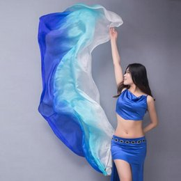 Wholesale Silk Veil Belly Dance Veils Real Silk Shawl Gradient Tie dyeing Silk Scarf Bollywood Costume for Women