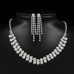 wholesale pendant sets NZ - Crystal Pendant Bib Choker Chain Statement Necklace Earrings Wedding Jewelry Set