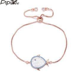 $enCountryForm.capitalKeyWord Australia - Pipitree Natural Shell Fish Charm Bracelet with Blue CZ Zircon Paved Fashion Rose Gold Color Chain Bracelets for Women Children