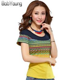 $enCountryForm.capitalKeyWord NZ - Babyoung 2019 Summer Style Cotton Tee Shirts Femme Women T-shirts Muslim T Shirt Bohemia Women Tops Yellow White Plus Size 4xl Y190123