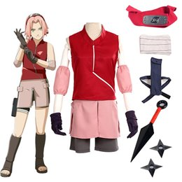 Wholesale naruto cosplay outfits for sale - Group buy Cosplay Anime Naruto Haruno Sakura Dress Shorts Outfit Halloween Party Show Uniform Costume Full Set Suit