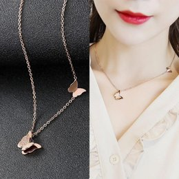 $enCountryForm.capitalKeyWord Australia - Luxury Jewelry Designer Clover Pendant Necklaces Titanium Steel Rose Gold Silver Swan Clavicle Chain Letter Necklace for Women Gift