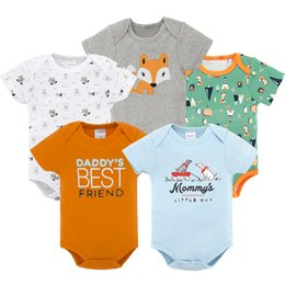 crystal blue flare Canada - 5 PCS LOT Baby Boy Bodysuits Short Sleeve 2020 Summer Cotton Infant Newborn Baby Girls Boys Jumpsuit Clothes Blue Green White