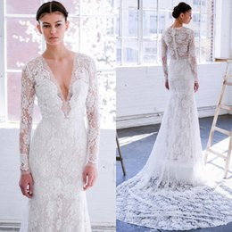 Wholesale long classy summer dresses resale online - 2020 New Classy Lace Mermaid Wedding Dresses With Long Sleeves Plunging Neckline Trumpet Bridal Gowns Sweep Train Country Wedding Dress