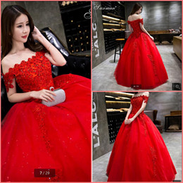 short ball gowns wedding dresses NZ - Vestidos De Novia 2019 ball gown red wedding dress off the shoulder short sleeve wedding gowns beading sequined formal bride dresses