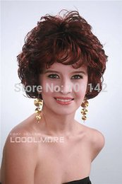 kanekalon lace wigs NZ - Dark Brown Red Short Curly High quality Women Everyday Hair wig queen Kanekalon hair no lace front wigs Free deliver