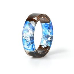 jewelry epoxy resin Australia - Wood Resin Ring Transparent Epoxy Resin Ring Fashion Handmade Dried Flower Wedding Jewelry Love Ring for Women 2019 New Design