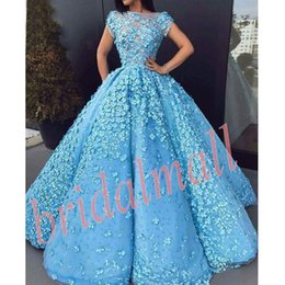 Navy ball caps online shopping - 3D Floral Appliqued Long Prom Dresses Arabic Illusion Blue Tulle Quinceanera Ball Gowns Zipper Back Africa Formal Evening Dress Party