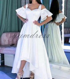 White Shorts Australia - White Prom Dresses 2019 Spaghetti Short Sleeve front Short long back Asymmetrical Formal Evening Dress Party Gowns robes de soirée