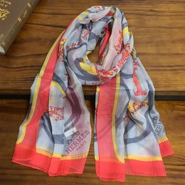$enCountryForm.capitalKeyWord Australia - New product women's scarf 100% silk Chiffon material print letter Embellished pattern long scarf size 180cm - 65cm