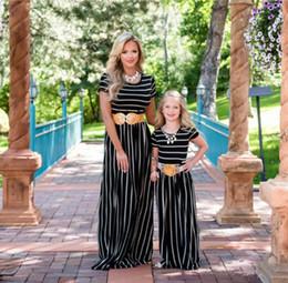 75da326d97608 Mother and daughter matching outfits 2019 summer new girls stripe princess  dress children round collar short sleeve beach long dress F5169