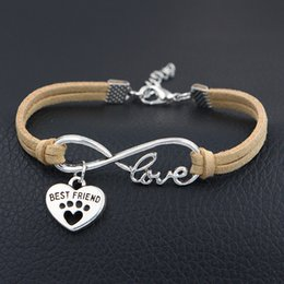 Heart Prints Australia - 2019 New Jewelry Infinity Love Dog Paw Prints & Best Friends Heart Charm Hand Made Braided Beige Leather Rope Wrap Bracelet Friendship Gifts