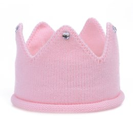 baby pullover NZ - Foreign trade boys and girls baby candy color crown hat knit pullover cap knit crown hairband
