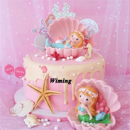 cake decorating supplies NZ - cake topper mermaid gifts toys for girls kids baby children cale supplies girl birthday present cake decorating cupcake toppers