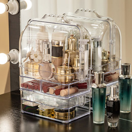 Wholesale Daily dustproof cosmetic storage box transparent large capacity portable desktop dressing table skin care product storage box
