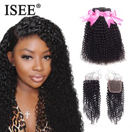 Mongolian extensions closure online shopping - Mongolian Kinky Curly Human Hair Bundles With Closure ISEE Hair Extensions Bundles With Closure Remy Curly Bundles With ClosureMX190921