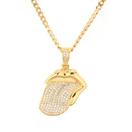 $enCountryForm.capitalKeyWord Australia - Hiphop Mouth Tongue Pendant Necklace Gold Silver Color Micro Pave Cubic Zirconia Rock Band Rolling Stone Mens Jewelry