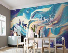 $enCountryForm.capitalKeyWord Australia - Customized Wallpaper For Walls Home Decoration Original Hand Painted Abstract Art Elk
