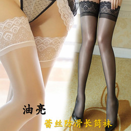 Discount white lace knee high socks - Anti-slip lace stockings sexy high tube socks extremely tempting knee thigh socks shiny flash stockings women