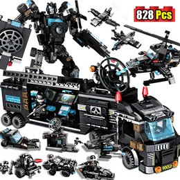 swat blocks NZ - Designer City Police Station Building Blocks Compatible Ingly Weapons City SWAT Team Truck Blocks Educational Toys For Boys CX200613