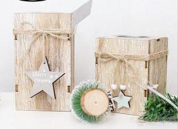 Wedding decor hanging candle holders online shopping - Wood Candlestick Candle Holder Christmas Decorative Lanterns With Hanging Star Christmas Tree Decoration Wedding Home Decor Gift