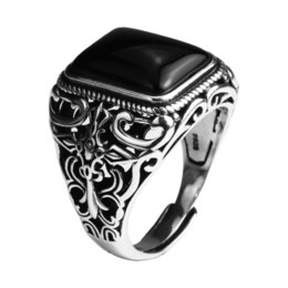 $enCountryForm.capitalKeyWord Australia - Real 925 Sterling Silver Vintage Rings For Men Natural Black Onyx Stone Square Shape Hollow Cross Flower Carved Punk Jewelry J190627