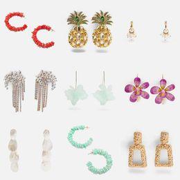 pineapple gifts wholesale 2019 - Dvacaman Crystal Flower&Pineapple Drop Earrings Handmade Stone Statement Earrings Wedding Party Jewelry Gifts Wholesale