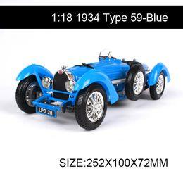 $enCountryForm.capitalKeyWord Australia - 1:18 1934 Buga Type 59 Blue Cars 1:18 Alloy Car Metal Vehicle Collectible Models toys For Gift diecast Car