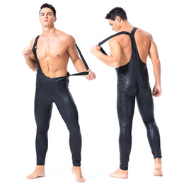 spandex jumpsuit men NZ - Sexy Erotic Lingerie Gay Men PU Faux Leather Bodysuit Backless Sexy Top Two Way Zipper Open Crotch Leotard Gay Bondage Fetish Tight Jumpsuit