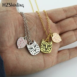 Enamel Chain Wholesale NZ - 2019 NEW Big Cat Face Enamel Pendant Necklace Rainforest Jewelry Cat and Leaf Pendants Gifts For Animal lovers Chain Silver Gold