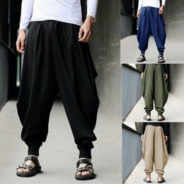 men s dancing pants 2019 - 2019 New Solid Men Hip Hop Loose Wide-leg Harem Pants Casual Pants Cross-pants Men's Joggers Dance Fashion Trousers
